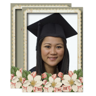 Vintage Flower Grad Graduation Photo Thank You Card