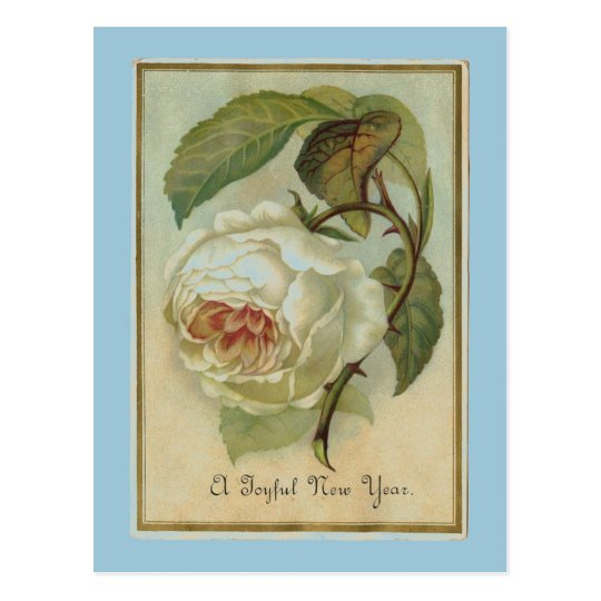 Vintage Flower New Year Postcard