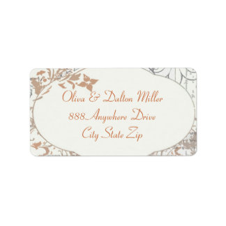 Vintage Flower Orange Fleur Address Label