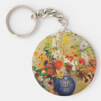 Vintage Flower Painting Basic Round Button Keychain