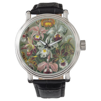 Vintage Flower painting Watch w/ vintage leather