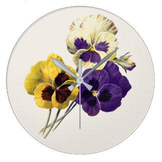 Vintage Flower Pansy Clock