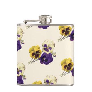 Vintage Flower Pansy Hip Flask