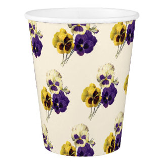 Vintage Flower Pansy Paper Cups