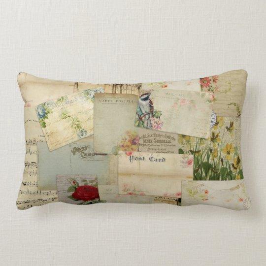 Vintage Flower Postcards Lumbar Pillow