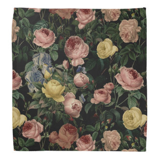 Vintage Flower Roses and Iris Pattern-Dark Dreams Bandana