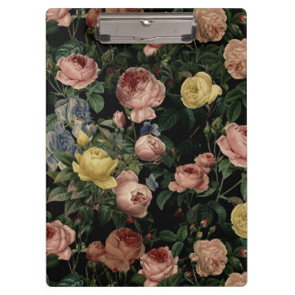 Vintage Flower Roses and Iris Pattern-Dark Dreams Clipboard