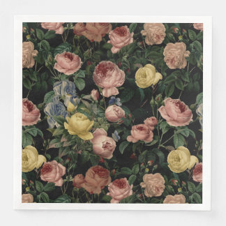 Vintage Flower Roses and Iris Pattern-Dark Dreams Disposable Napkins