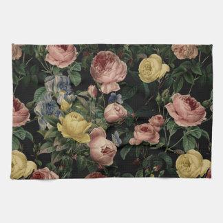 Vintage Flower Roses and Iris Pattern-Dark Dreams Kitchen Towel