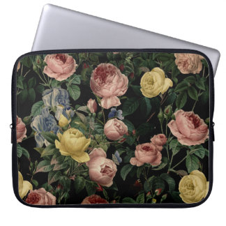 Vintage Flower Roses and Iris Pattern-Dark Dreams Laptop Sleeve