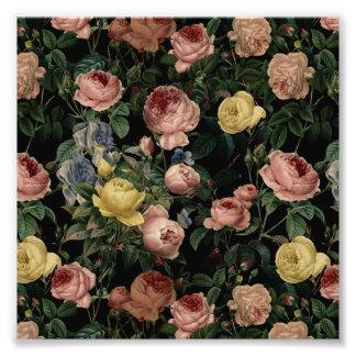 Vintage Flower Roses and Iris Pattern-Dark Dreams Photo Print