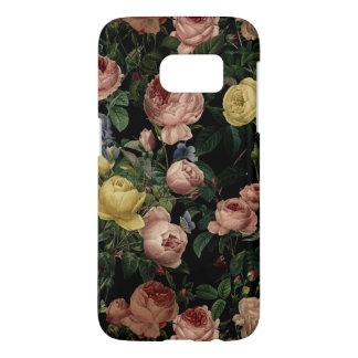 Vintage Flower Roses and Iris Pattern-Dark Dreams Samsung Galaxy S7 Case