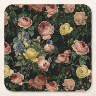 Vintage Flower Roses and Iris Pattern-Dark Dreams Square Paper Coaster