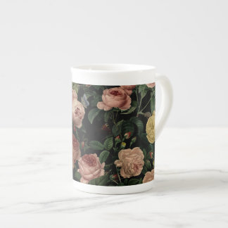 Vintage Flower Roses and Iris Pattern-Dark Dreams Tea Cup