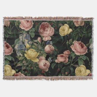 Vintage Flower Roses and Iris Pattern-Dark Dreams Throw