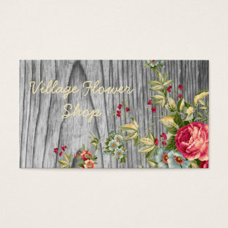 Vintage Flower Shop Business Card with Roses