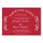 Vintage Flower Swirl Monogram RED Save the Date Personalized Announcement