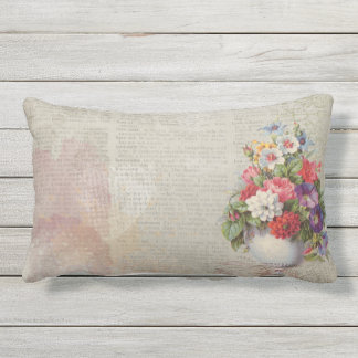 Vintage flower vase patio cushion or decor pillow