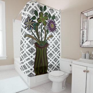 vintage flower white shower curtain