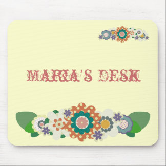 Vintage Flowers !! Add Your NAME !! Mouse Pad