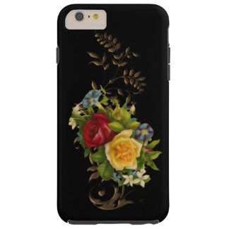 Vintage Flowers and Gold Leaves Tough iPhone 6 Plus Case