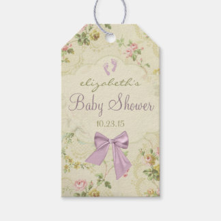 Vintage Flowers and Lavender Bow Baby Shower Gift Tags