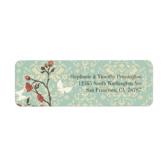 Vintage flowers, butterfly + damask address label