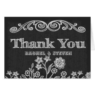 Vintage Flowers Chalkboard Thank You Card