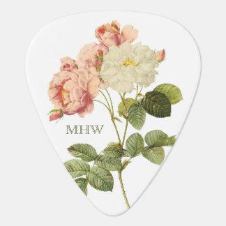 Vintage Flowers custom monogram guitar pick 2