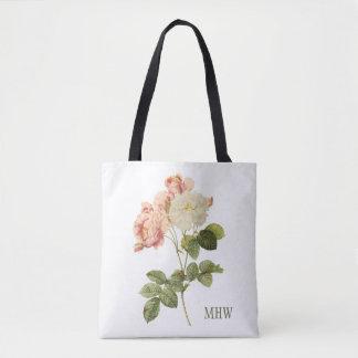 Vintage Flowers custom monogram tote bags
