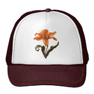Vintage Flowers, Fancy Frilly Orange Lily in Bloom Trucker Hat