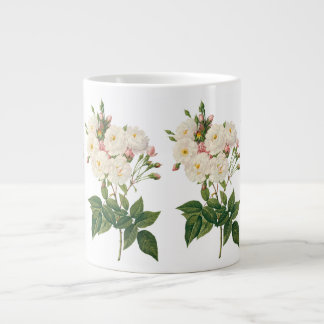 Vintage Flowers Floral Blush Noisette Rose Redoute Giant Coffee Mug