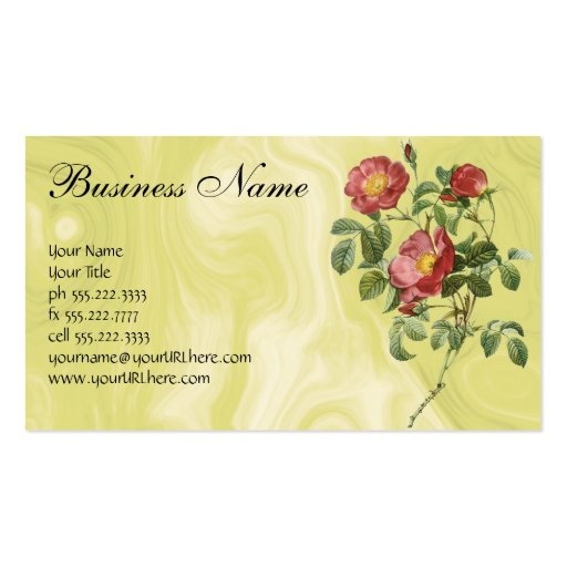 Vintage Flowers Floral Red Rose of Love by Redoute Business Card Templates
