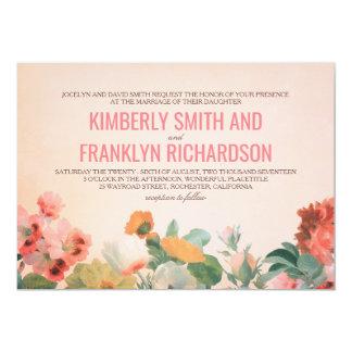 Vintage Flowers Garden Romantic Floral Wedding Card
