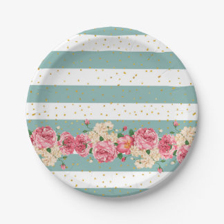 Vintage flowers gold faux glitter dots stripes paper plate