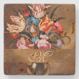 Vintage Flowers in a Vase | Monogrammed Coaster