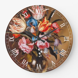 Vintage Flowers in a Vase | Round Wall Clock