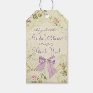 Vintage Flowers Lavender Bridal Shower Pack Of Gift Tags