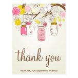 Vintage Flowers & Mason Jars Thank You Postard Postcards