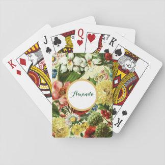 Vintage flowers monogram floral country poker deck