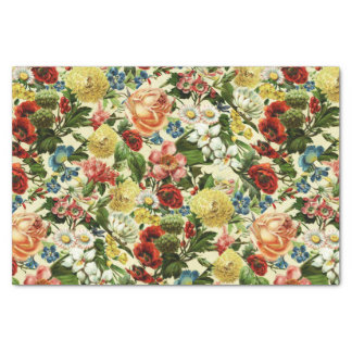 Vintage flowers monogram floral country tissue paper