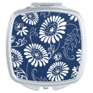 Vintage flowers on deep blue compact mirrors