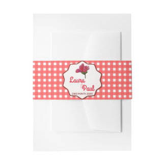 Vintage Flowers on Gingham Invitation Belly Band