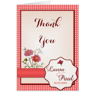 Vintage Flowers on Gingham Thank You Card
