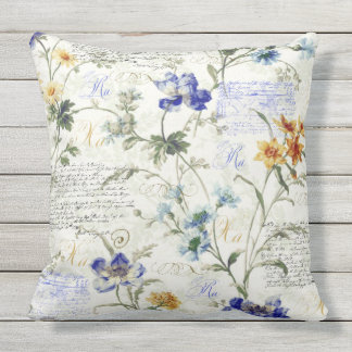 """Vintage Flowers Outdoor Throw Pillow 20"""" x 20"""""""
