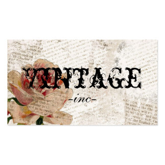 Vintage Flowers over Distressed Text Pack Of Standard Business Cards
