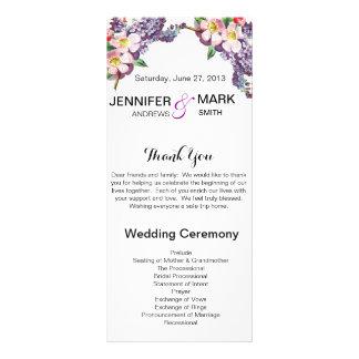 Vintage Flowers Personalized Wedding Program Rack Card Design