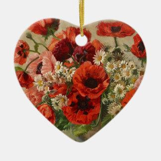 Vintage flowers, poppies ceramic ornament