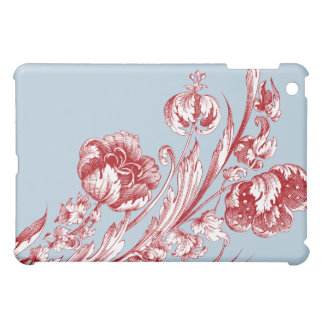 Vintage Flowers, Red, White and Blue Case For The iPad Mini