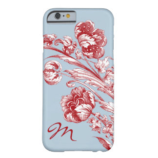 Vintage Flowers, Red, White and Blue, Personalized Barely There iPhone 6 Case